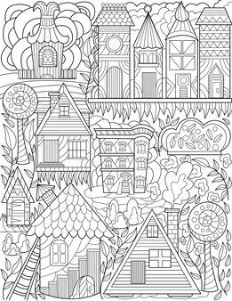 Città vecchia scarabocchiare alberi ad alto fusto case incolore disegno classico villaggio scarabocchi set alto