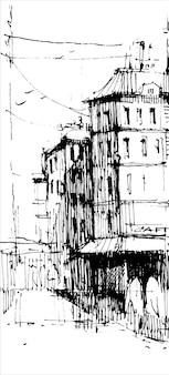 Città vecchia disegnata a mano.