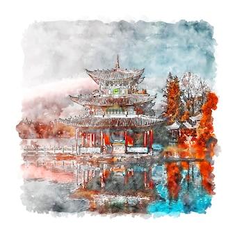 Illustrazione disegnata a mano di schizzo dell'acquerello della città vecchia di lijiang cina