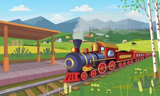 Vecchio treno con stazione ferroviaria nel villaggio