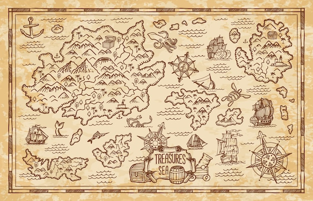 Vecchia mappa del tesoro con le isole del mar dei caraibi