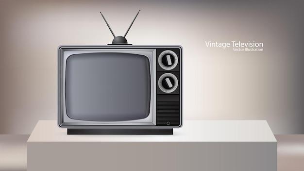 Vecchio televisore isolato sul palco cubico, illustrazione