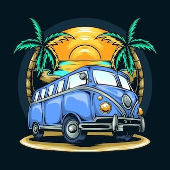 Vecchio furgone tra alberi di cocco in estate sulla spiaggia
