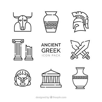 Vettore vecchio mazzo di disegni antichi greci