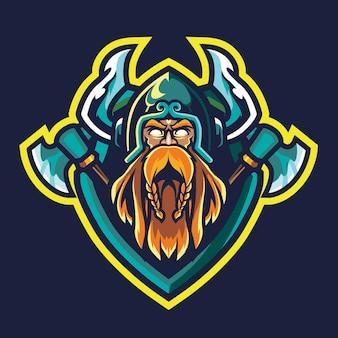 Old viking esport logo illustrazione