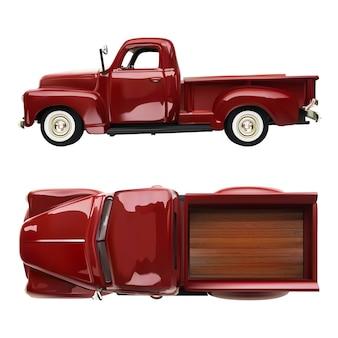 Illustrazione realistica del camion rosso della vecchia raccolta classica d'annata su bianco isolata. vista laterale e dall'alto