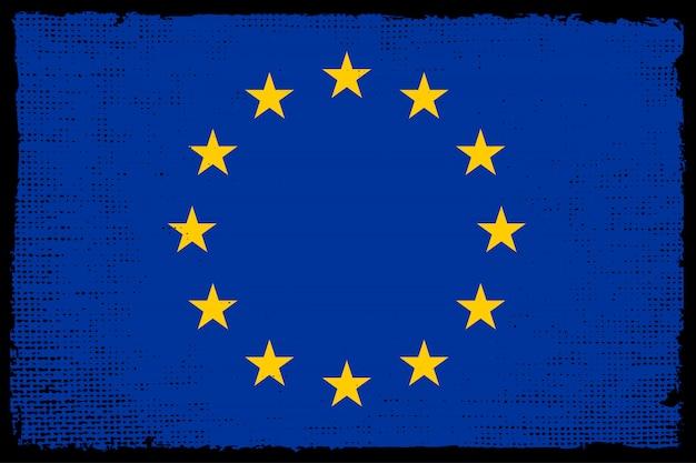 Vecchia bandiera vintage dell'unione europea