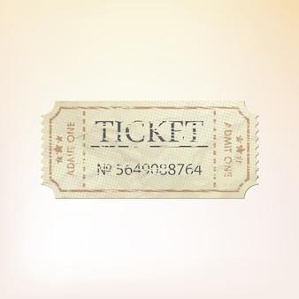 Vecchio biglietto cartaceo vintage con numero.
