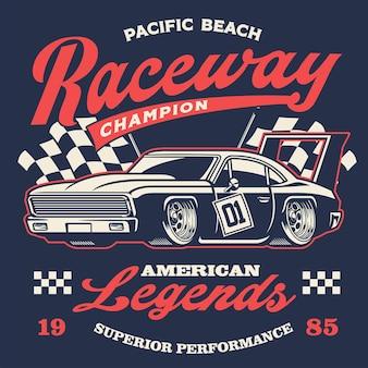 Vecchio design della camicia di auto da corsa vintage