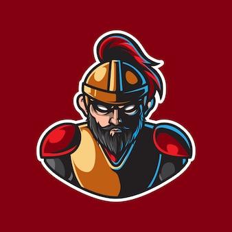 Logo della mascotte del vecchio guerriero