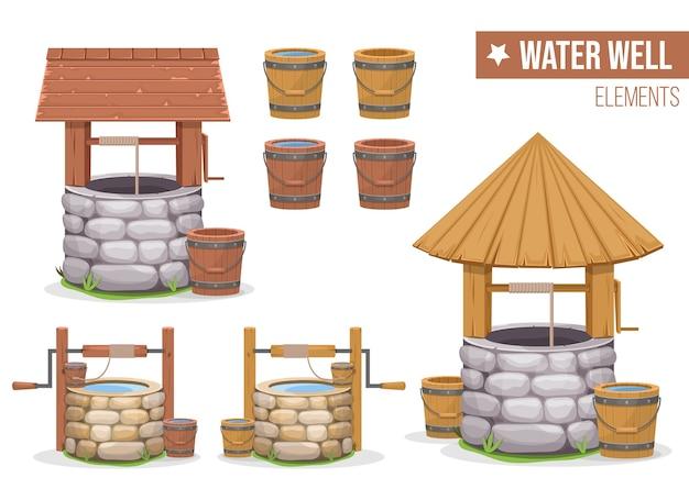 Vecchia illustrazione del pozzo d'acqua isolato su priorità bassa bianca