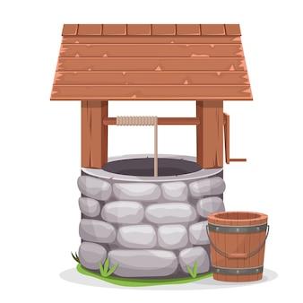 Vecchia illustrazione del pozzo d'acqua su fondo bianco