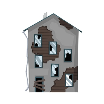 Vecchia casa o abitazione esposta all'aria. casa abbandonata in cattive condizioni.