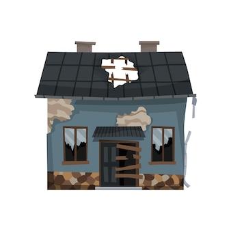 Vecchia casa esposta all'aria o disegno dell'illustrazione dell'abitazione