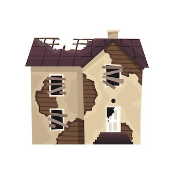 Vecchia casa o abitazione esposta all'aria