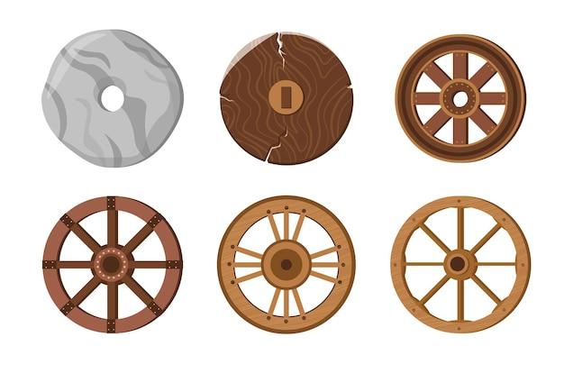 Vecchie ruote, anello di pietra primitivo, antiche ruote di trasporto