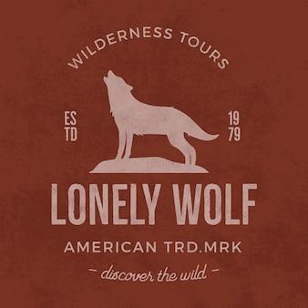 Vecchia etichetta di deserto con elementi di lupo e tipografia.