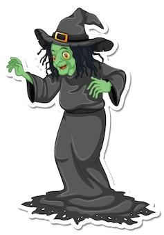 Un adesivo con il personaggio dei cartoni animati di una vecchia strega