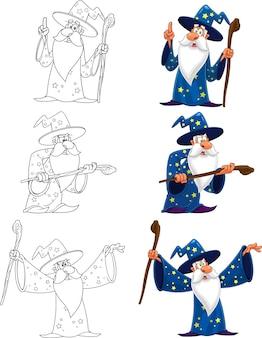 Personaggio dei cartoni animati del vecchio mago. insieme di raccolta isolato su sfondo bianco
