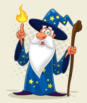Personaggio dei cartoni animati vecchio mago con un bastone