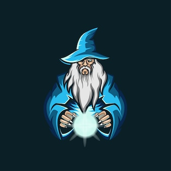 Old wizard esport logo illustrazione
