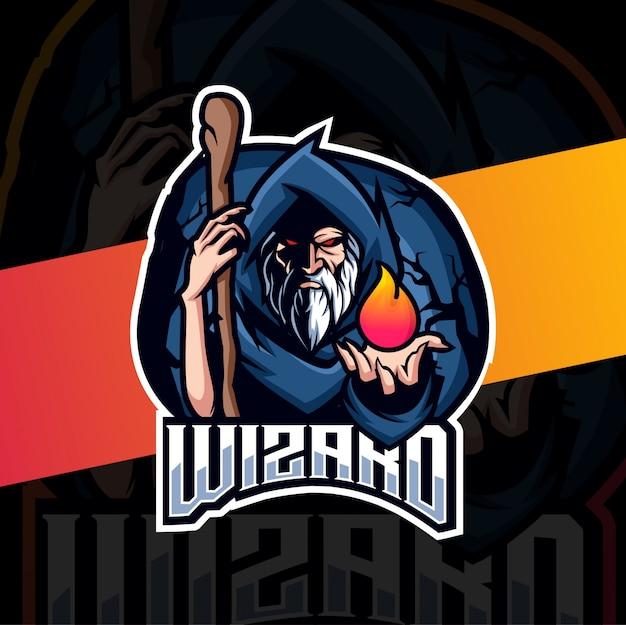 Vecchio mago mascotte esport logo design