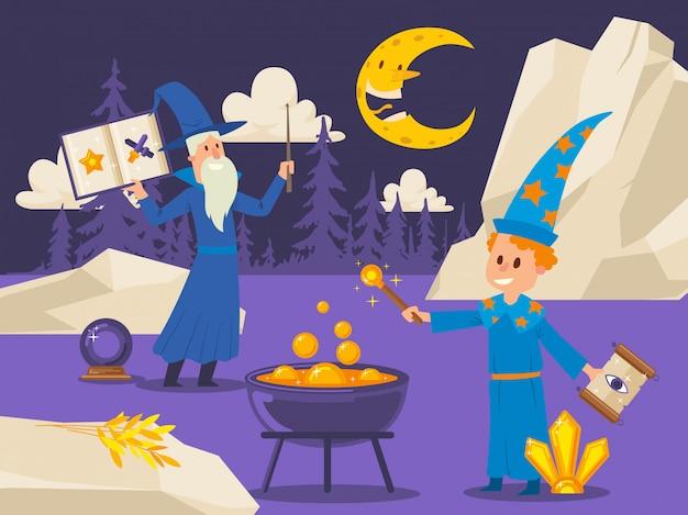 Il vecchio mago insegna al giovane studente a cucinare pozione magica. scena all'aperto di stile piano con personaggi dei cartoni animati. ragazzo con bacchetta magica e incantesimo scorrere di notte