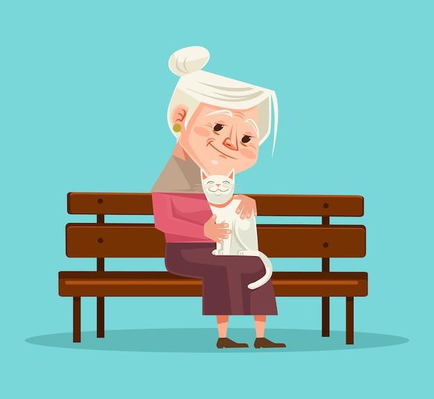 Carattere di donna anziana tenere carattere gatto seduto sulla panchina