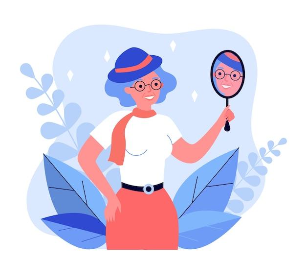 Vecchia donna che guarda nello specchio e sorridente. viso, cappello, illustrazione di bellezza. concetto di moda e aspetto per banner, sito web o pagina web di destinazione