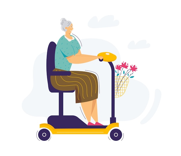 Vecchia donna in sella a scooter. il personaggio femminile senior cavalca sulla sedia a rotelle elettrica. nonna donna anziana alla guida di scooter.
