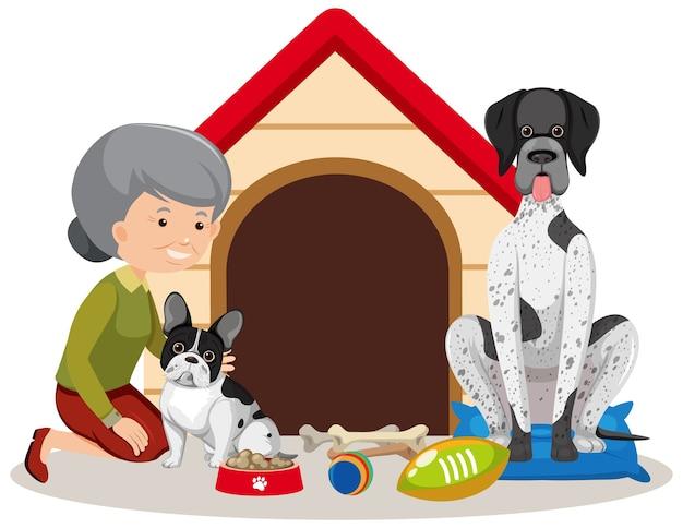 Vecchia donna con simpatico cane su sfondo bianco