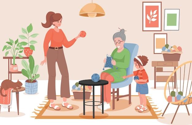 Vecchia donna con la famiglia sciarpa per maglieria