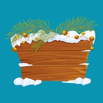 Vecchio cartello natalizio in legno con ramo di pino di neve e ghirlanda d'oro in stile cartone animato
