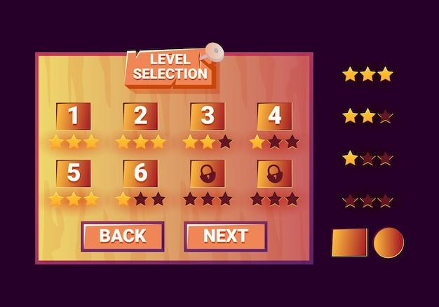 Vecchia interfaccia di selezione del livello dell'interfaccia utente di gioco in legno per elementi di asset gui