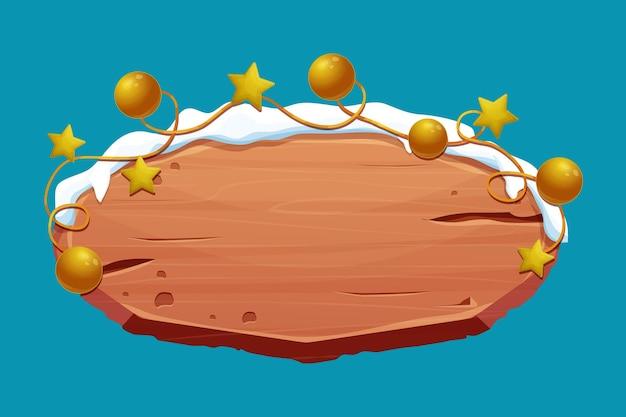 Vecchia insegna di legno con neve e palle di stelle d'oro in stile cartone animato