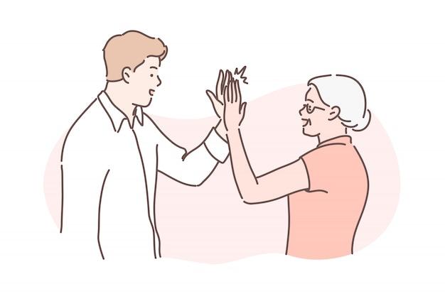 Vecchia e giovane età, concetto di congratulazioni