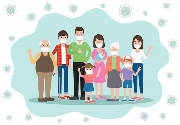 Membri della famiglia vecchi e giovani, che indossano maschere per il viso evitando e prevenendo la pandemia del virus corona e la diffusione di covid-19 rimanendo a casa. consapevolezza della malattia di coronavirus.