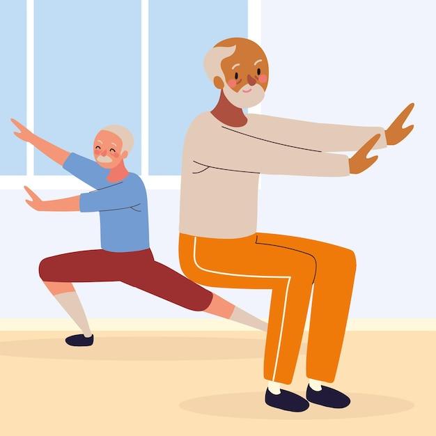 Uomini anziani che fanno attività fisica