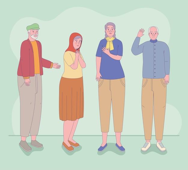 Collezione di icone di uomini e donne più anziani