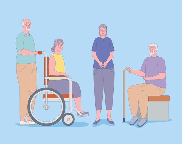 Set di icone di uomini e donne più anziani