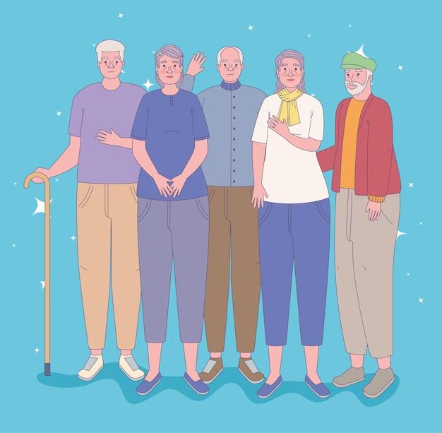 Le persone anziane insieme