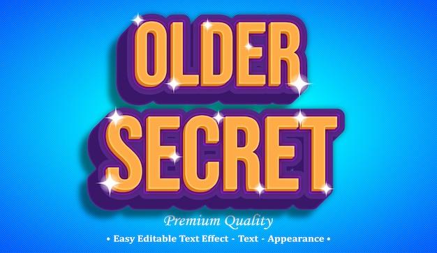 Vecchio effetto stile testo modificabile 3d segreto