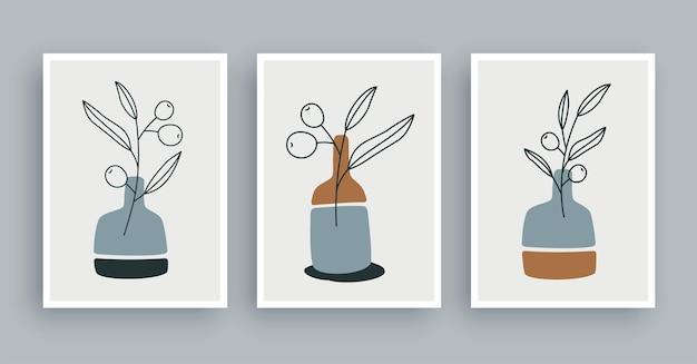 Fondo botanico della pittura di arte della parete del ramo d'ulivo. arte del fogliame e linea disegnata a mano con forma astratta. stile nordico scandinavo di metà secolo.