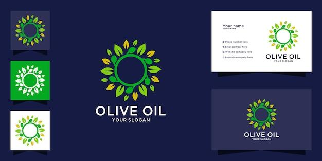 Logo del ramo d'ulivo con design del concetto di cerchio