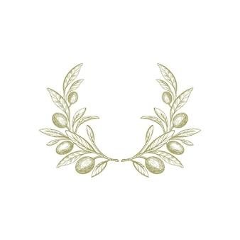 Ramo d'ulivo rustico corona trama frutta fogliame verde natura simbolo rotondo illustrazione disegnata a mano