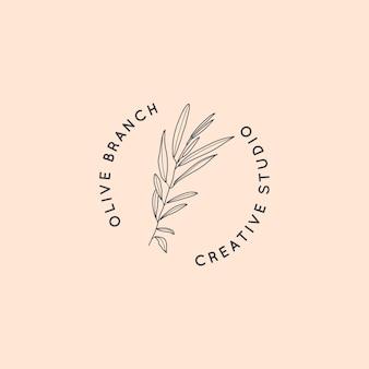 Ramo d'ulivo con modello di progettazione di logo di foglie in stile lineare minimale semplice. segni vettoriali femminili astratti con illustrazione floreale per studio di bellezza, salone spa, cosmetici biologici, studio creativo