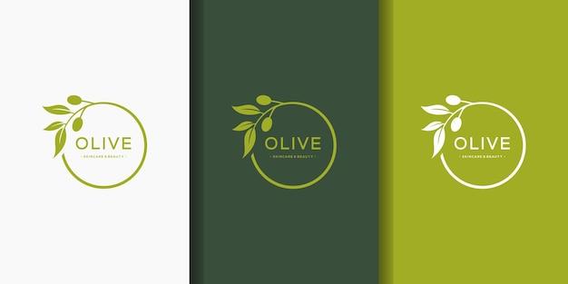 Modello di logo del cerchio di oliva