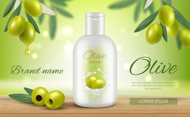 Cosmetici alle olive. banner promozionali bellezza donna viso naturale cura della pelle protezione olio vitamina modello.
