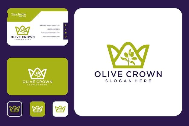 Design del logo della corona d'oliva e biglietto da visita