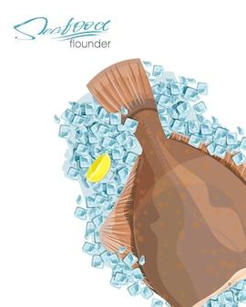 Olive flounder illustrazione vettoriale pesce di mare su cubetti di ghiaccio con una fetta di limone